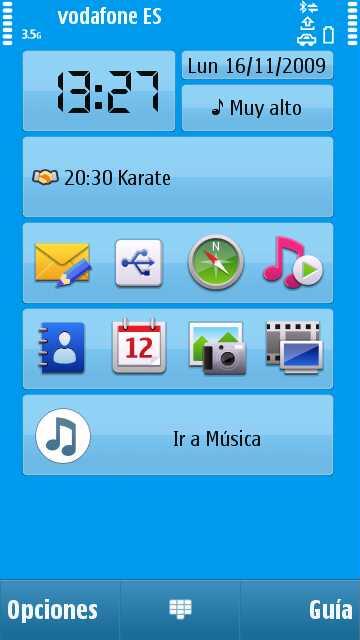 Pantalla de inicio del Nokia N97