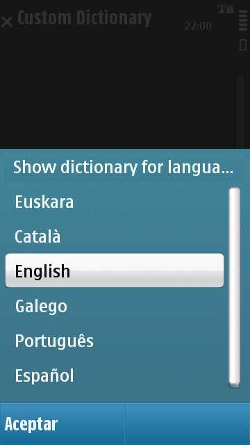 Custom Dictionary en un Nokia N97_2