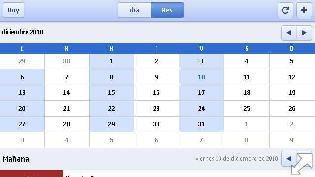 Google Calendar en un Nokia N97 mini